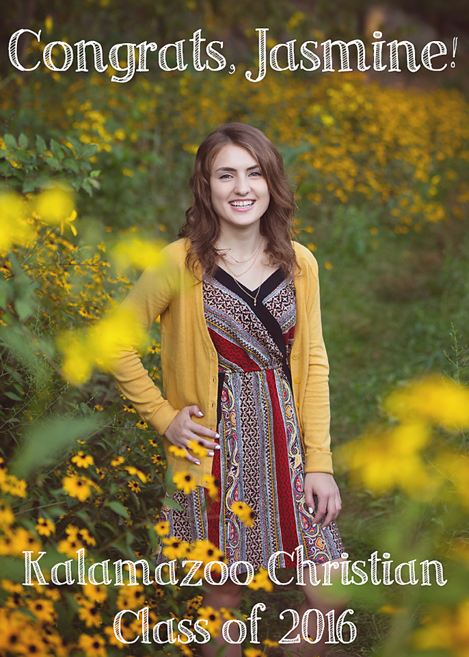 beautiful senior photos in a field of flowers in kalamazoo