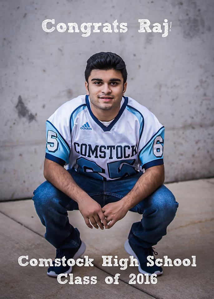 Comstock football senior photos of Raj