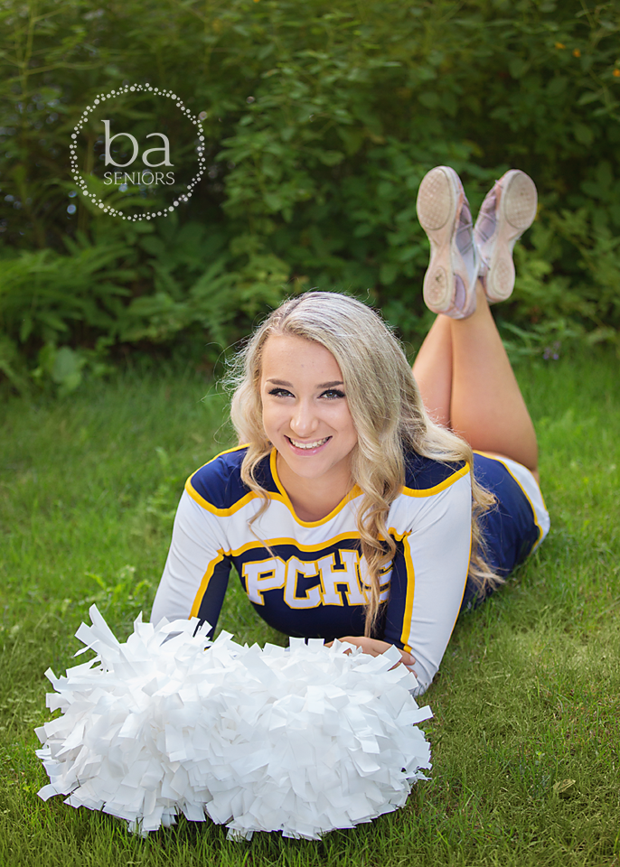 PCHS cheer senior pictures of Addie
