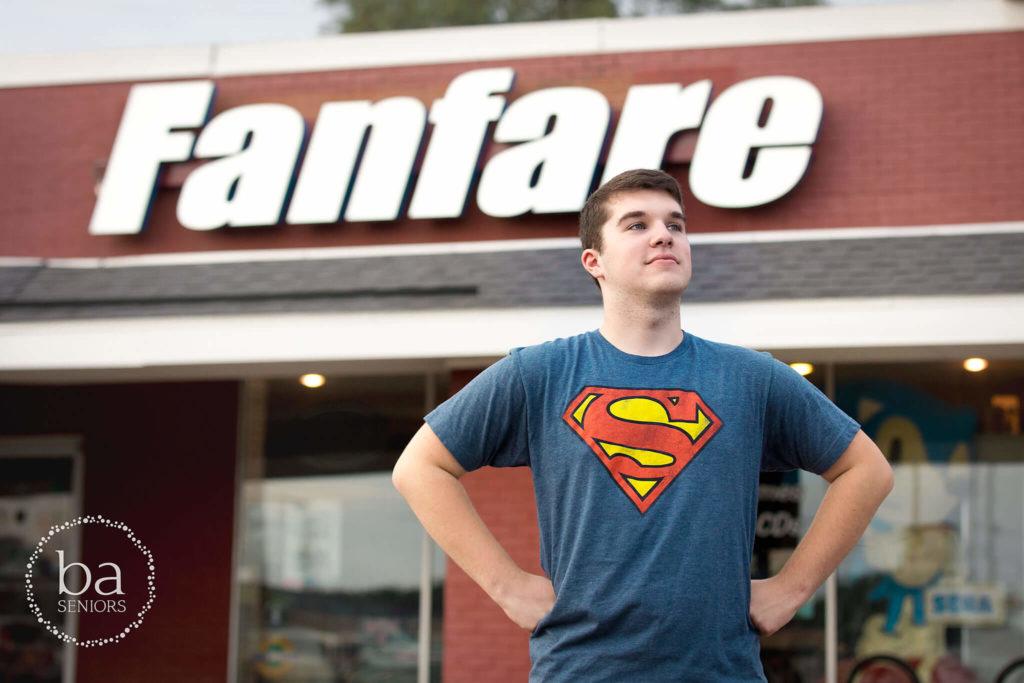 senior pictures of Ryan KC 2018 Fanfare Superman