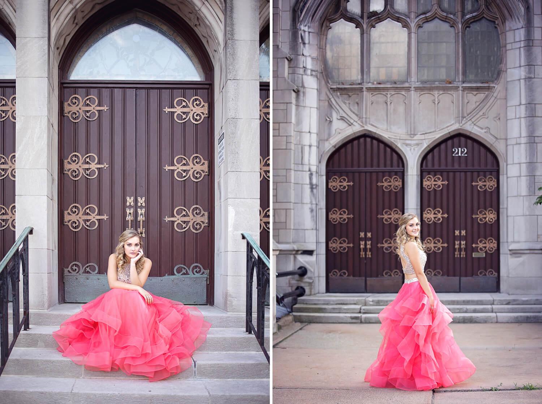 high school girl in prom dress in kalamazoo