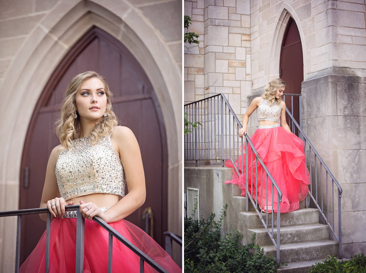 running from church photo in prom dress
