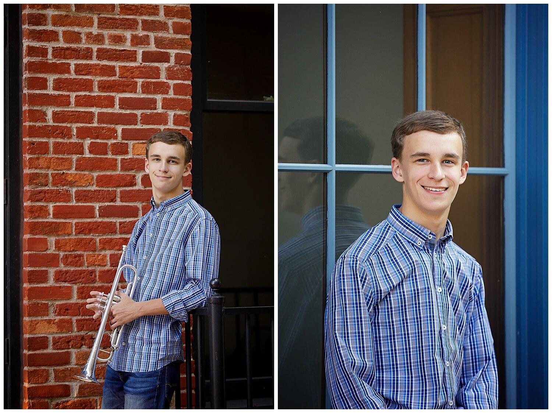Senior pictures Kalamazoo Michigan trumpet downtown