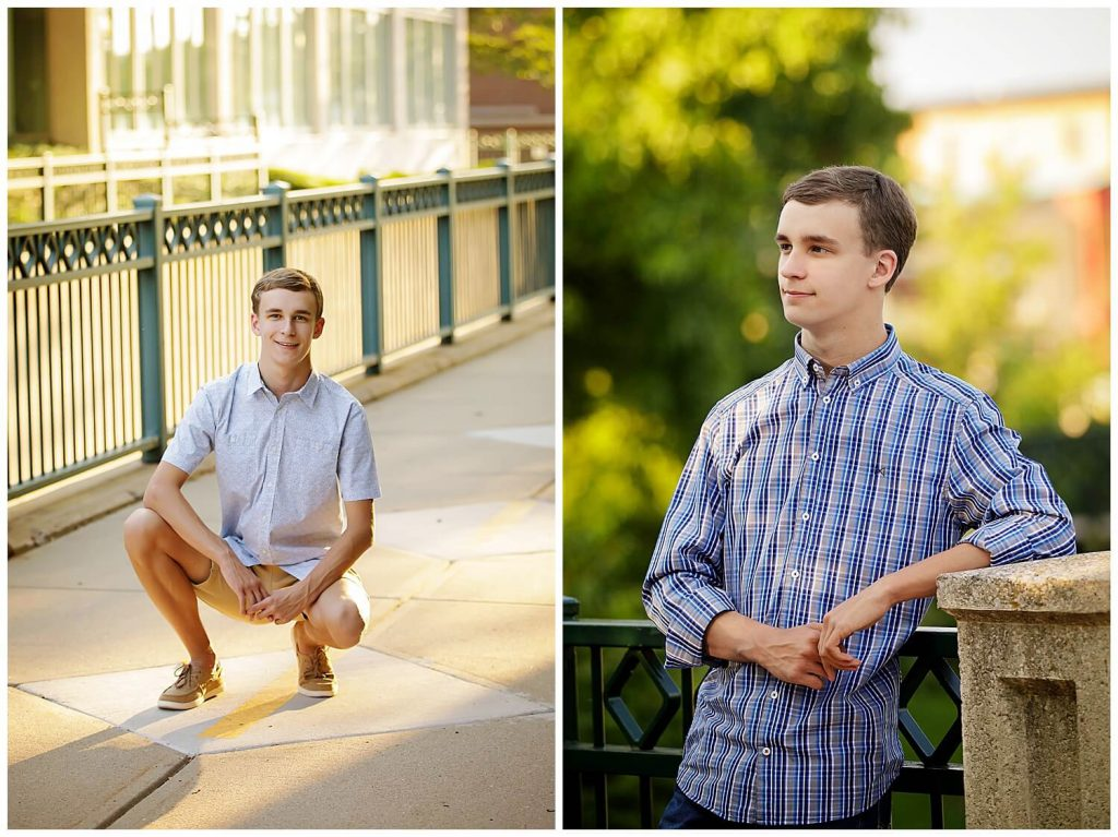 senior guy pictures in downtown kalamazoo sunlit