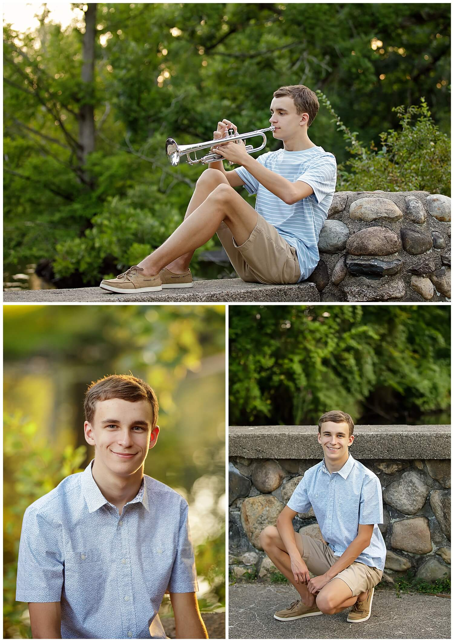 Trumpet senior pictures on bridge in Milham Park Marching Band Portage CEntral