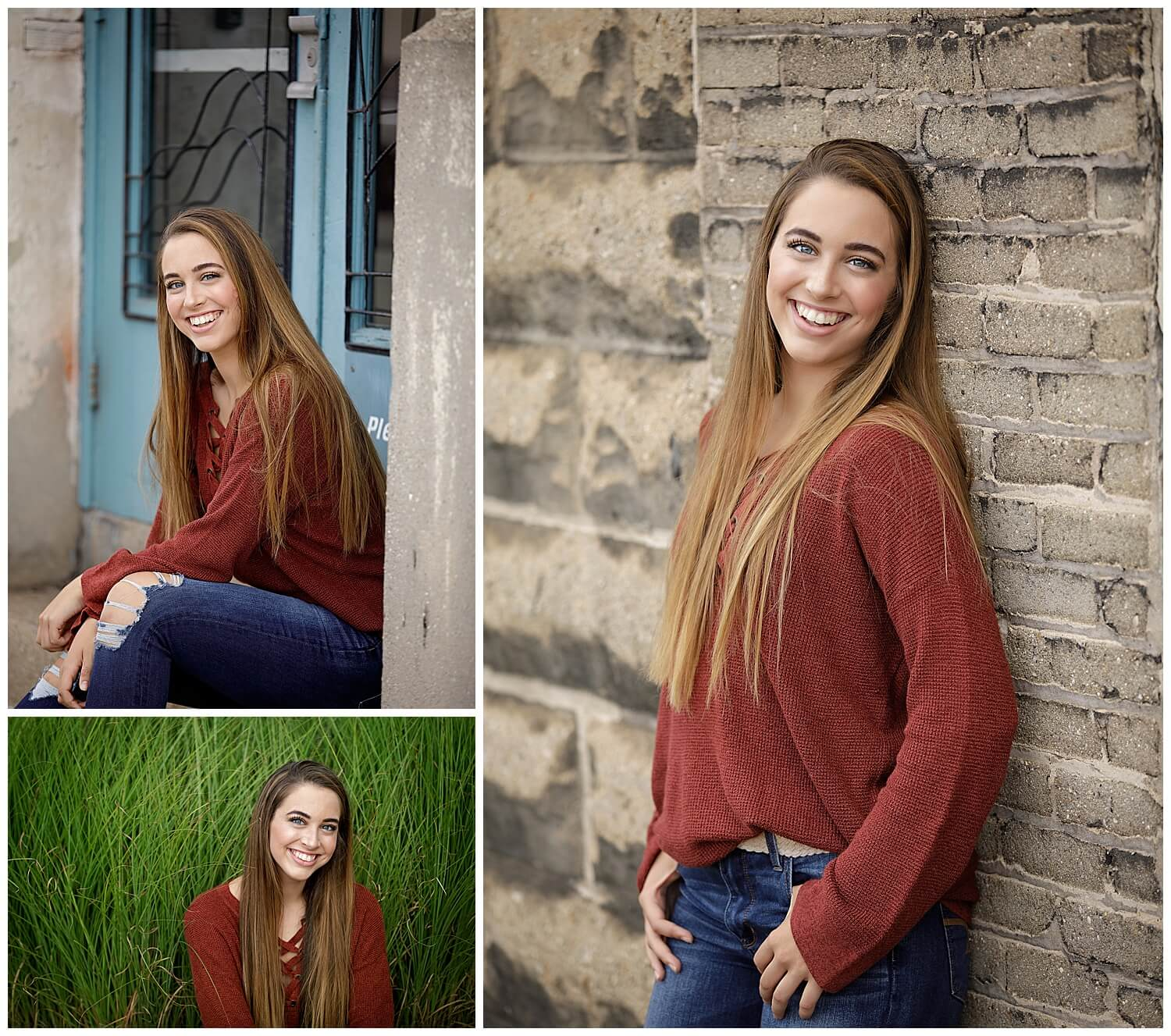 Senior girl in rust sweater and jeans in downtown kalamazoo at Park trades