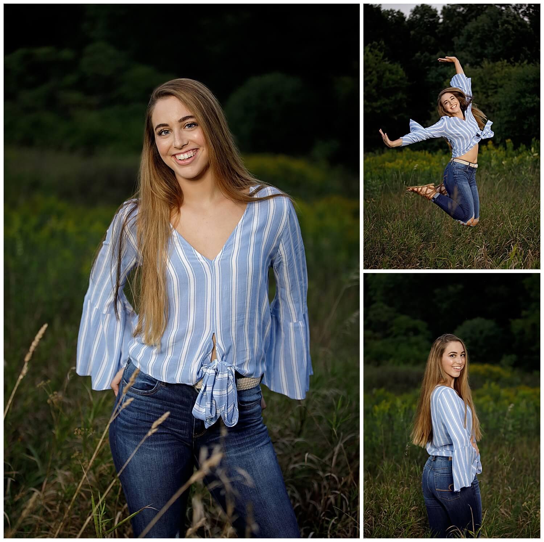 Senior girl at Asylum Lake with Off Camera Flash - Blue shirt and jeans.  Jumping