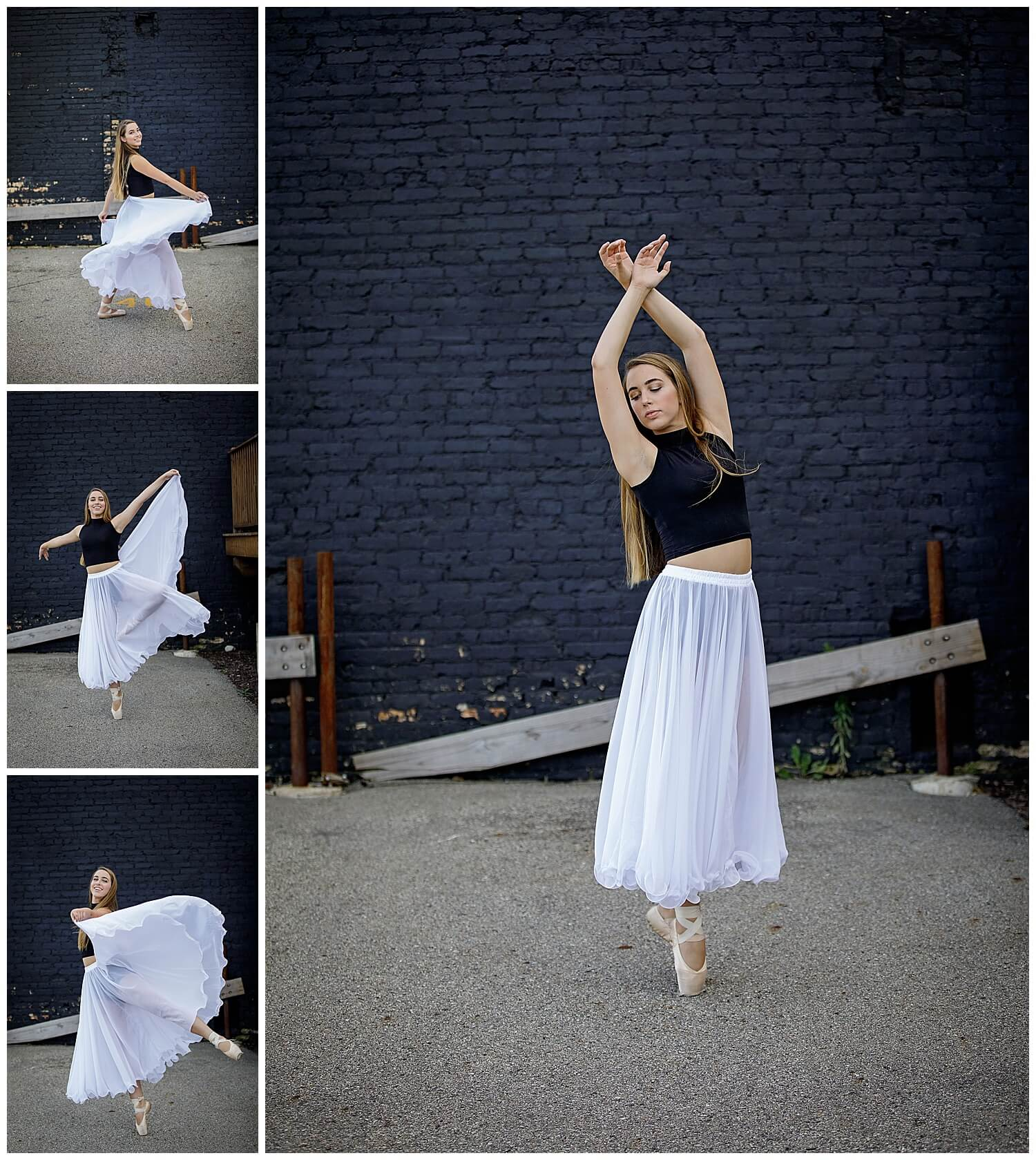 Dance senior pictures with long flowy white skirt and black wall.  dancer with pointe shoes