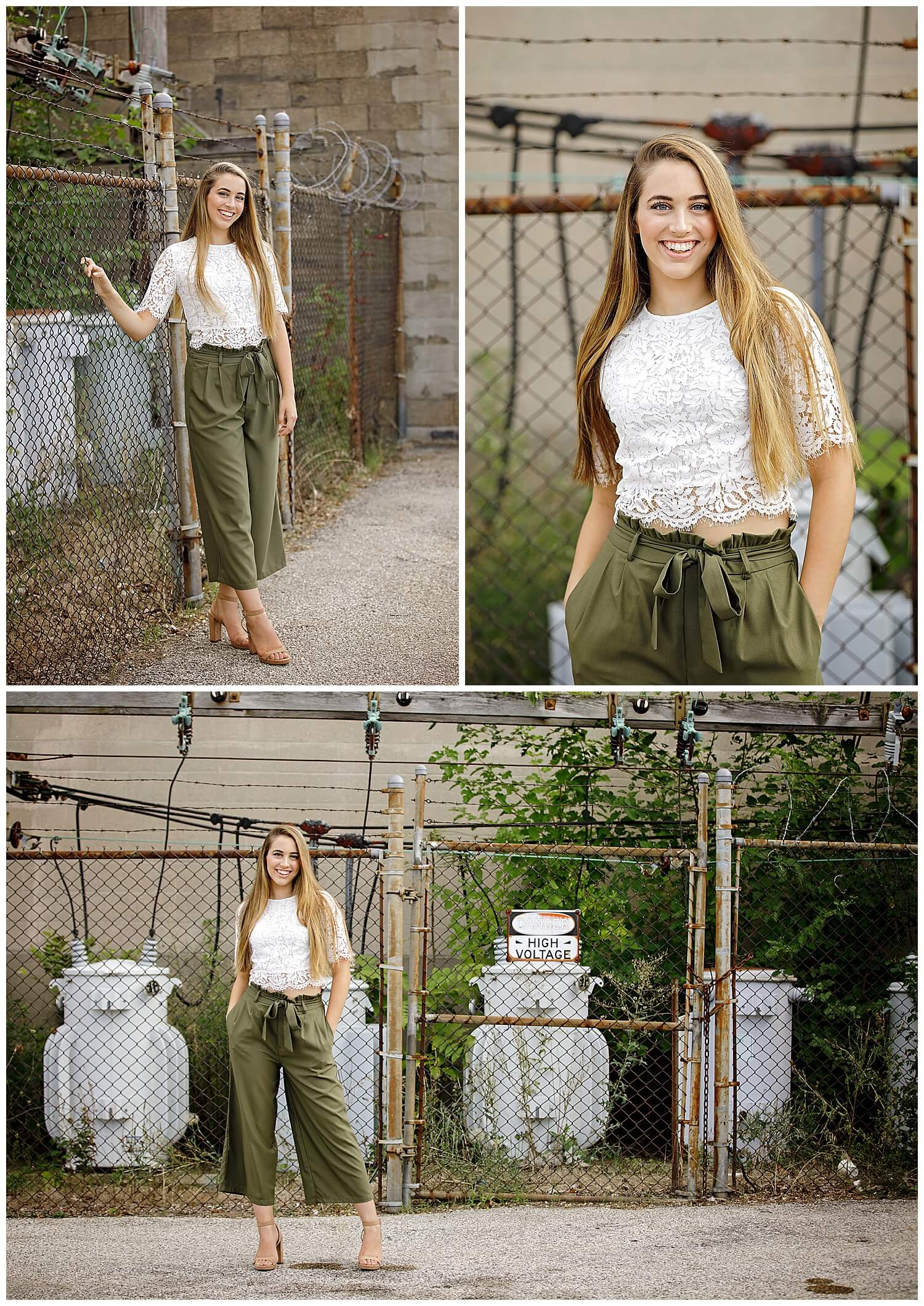 Beautiful senior girl from Otsego High School in green pants and white lace top